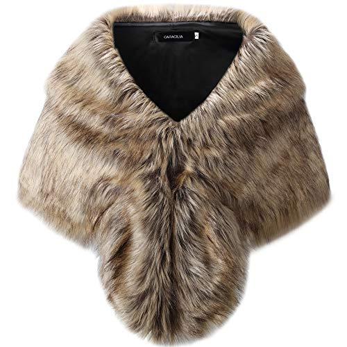 Caracilia Elegant Faux Fox Fur Evening Party Shawls Scarf Wraps sansehuamao1 S CA95 ()