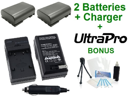 UltraPro 2-Pack NB-2L High-Capacity Replacement Batteries with Rapid Travel Charger for Select Canon Digital Cameras - UltraPro Bundle Includes: Camera Cleaning Kit, Camera Screen Protector, Mini Travel Tripod