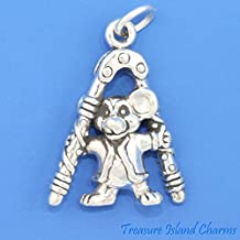 MOUSE with NUTCRACKER CHRISTMAS 3D .925 Solid Sterling Silver Charm MADE IN USA Jewelry Making Supply Pendant Bracelet DIY Crafting by Wholesale Charms