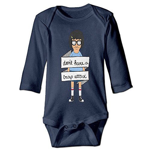 Tina Bobs Burger Costume (DETED Bob's Burgers Tina Belcher Girl Cute Newborn Baby Climb Clothes Size6 M Navy)