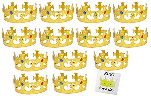 WellPackBox 12 Pack of Party Crowns Gold, King Royal Crown For Kids Adults, Birthday Party Crowns, Party Hats, Dress Up Costumes, Party Props Plus King For A Day (Paper Jester Hat)