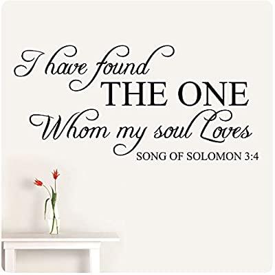 "48"" I have found the one whom my soul loves Song of Solomon 3:4 Love Wall Decal Sticker Art Mural Home Décor Quote Bedroom Marriage Bible Verse Christian Anniversary"