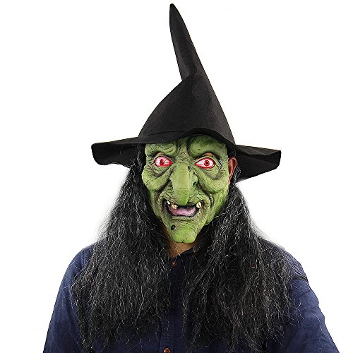 Halloween Witch Masks (Latex Full Head Scary Green Witch Mask Horror Creepy Mask for Halloween Masquerade Costume Cosplay Party)
