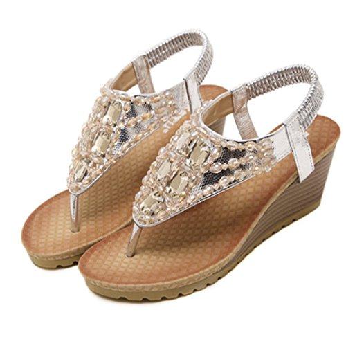 Décontractés Style de d'été Bohème pour Tong Perlés Peep Haut Argent Romaine Casuel Talon Compensés Fanessy Toe Plage Plates en Femme Strass Sandales Mode fwqRHz