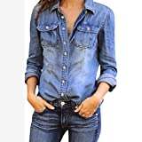 Snowfoller Women Blue Jean Denim Blouse Fashion Long Sleeve Button Down Lapel Shirt Casual Jacket (S, Blue)