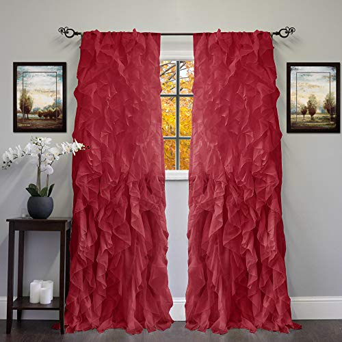 Sweet Home Collection 2 Pack Window Panel Sheer Voile Vertical Ruffled Waterfall Curtains, 84