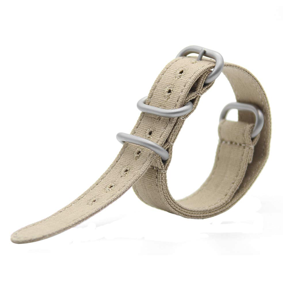 24mm Rugged Khaki Stitched Canvas Watch Strap for Men and Women NATO Straps Cotton Canvas Watch Bands