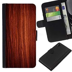 Sony Xperia Z2 D6502 D6503 D6543 L50t L50u , la tarjeta de Crédito Slots PU Funda de cuero Monedero caso cubierta de piel ( Wallpaper Art Wood Interior Design Texture)