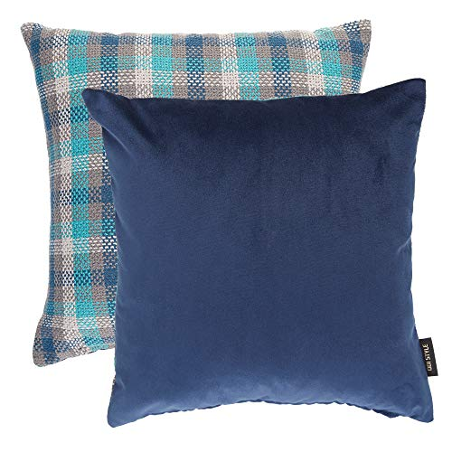 Navy Blue Decorative Pillows Pack of 2- Plush Solid Soft Velvet and Tartan Plaid Checkered Linen Throw Square Accent Pillow Covers Cases for Couch Bed Sofa, Rustic Boho Farmhouse Home Decor, 18
