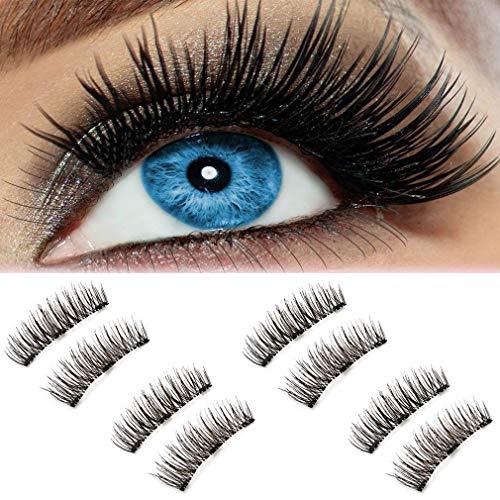 Natural Fake Magnetic Eyelashes, Beatife 3D Three Magnets Ultra Thin Soft, Glamorous, Natural Look, No Glue, Handmade Reusable False Eyelashes Fake Lashes Extension (Black) 4 Pair/8Pcs