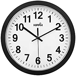 Large Indoor Wall Clock - 12 Inch Non-Ticking & Silent Decorative Clocks for Office / Kitchen / Bedroom / Living Room by Hippih