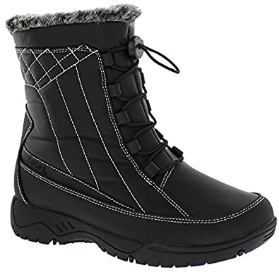 Amazon.com | totes Womens Elle Black Snow Boot | Round Toe