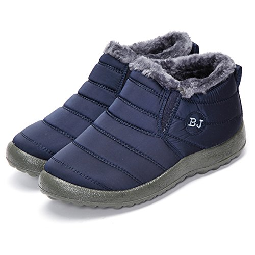 Image of gracosy Winter Snow Ankle Boots Fur Lining Waterproof Outdoor Slip On Booties Sneakers for Men and Women
