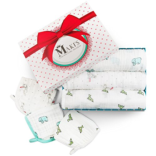 Baby Muslin Swaddle Blankets 3+3 Pack – Large Newborn Receiving Blankets Perfect for Unisex Baby Shower Gift – 100% Cotton Infant Swaddling Blankets + FREE BONUS Cotton Washcloth Set.