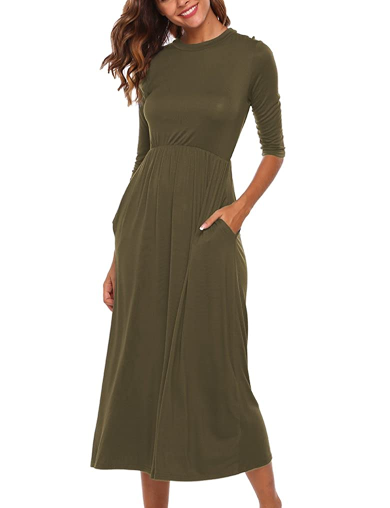 f900027a1fb34a Halife Women's Smock Neck 3/4 Sleeve Fit and Flare Long Midi Dress with  Pockets at Amazon Women's Clothing store: