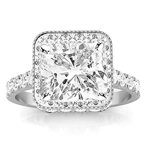 2.2 Ctw 14K White Gold GIA Certified Cushion Cut Contemporary Yet Milgrain Vintage Designer Halo Diamond Engagement Ring, 1.5 Ct D-E SI1-SI2 Center