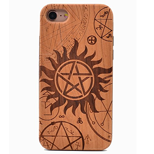 Iphone 6S Case Supernatural Pentagram Star Pattern Wood Case Handmade Carving Real Wooden Case Cover With Rubber Case Back For Apple Iphone 6  Iphone 6S