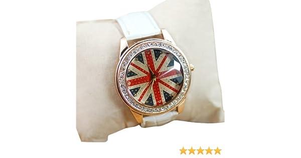 Británico Reino Unido Bandera Nacional Big esfera Set con brillantes oro rosa para mujer muñeca reloj blanco: Amazon.es: Relojes