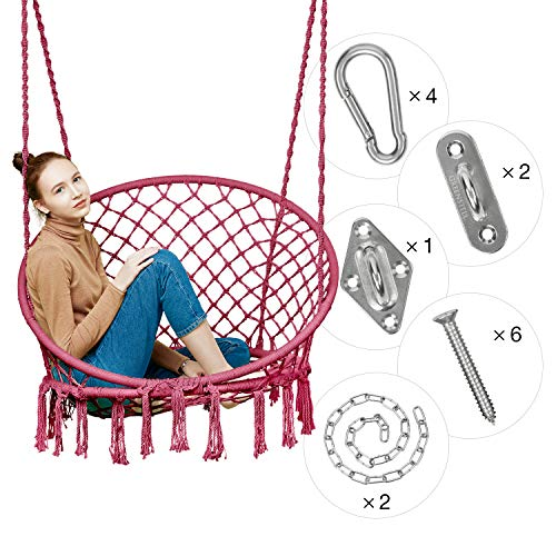 Greenstell Hammock Chair Macrame Swing with Hanging Kits, Hanging Cotton Rope Swing Chair, Comfortable Sturdy Hanging Chairs for Indoor, Outdoor, Home, Patio, Yard, Garden, 290LBS Capacity (Pink) (Outdoor Comfortable Chairs)