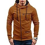 KPILP Men's Fashion Pullover Plus Size Autumn Casual Solid Long Sleeve Shirt Hoodie Sweatshirt Outerwear Sportswear