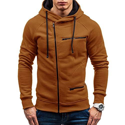 KIKOY Men Basic Autumn Casual Solid Long Sleeve Full-Zip Hooded Sweatshirt Coat ()