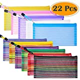 Selizo 22 Pcs 11 Colors Zipper Mesh Pencil Pouch Pen Bag Case for Cosmetic Makeup Office Supplies and Travel Accessories
