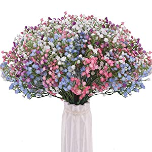BOMAROLAN Artificial Baby Breath Flowers Fake Gypsophila Bouquets 24 Pcs Fake Real Touch Flowers for Wedding Decor DIY Home Party (4 Colors)