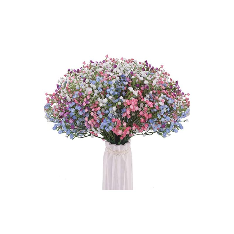silk flower arrangements bomarolan artificial baby breath flowers fake gypsophila bouquets 24 pcs fake real touch flowers for wedding decor diy home party (4 colors)