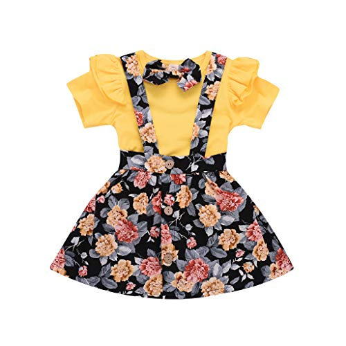 Pig Floral (CCSDR Toddler Baby Girls Skirt Sets Solid Floral Frill Ruffled T Shirt Suspender Skirt Clothes Outfits Yellow)