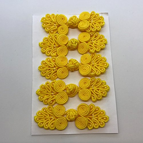 1.75' Button (Five Pairs of Bead Chinese Frogs fasteners closure buttons in Golden Yellow, Available in 12 Colors.)