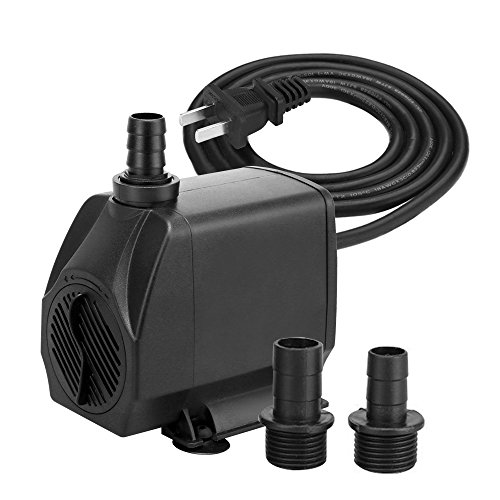 KEDSUM 880GPH Submersible Pump(3500L/H, 100W), Ultra Quiet Water Pump with 13ft High Lift, Fountain Pump with 4.9 ft Power Cord, 3 Nozzles for Fish Tank, Pond, Aquarium, Statuary, Hydroponics by KEDSUM