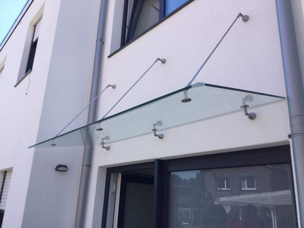 Glasvordach Grauglas Vordach T/ürvordach T/ürdach Haust/ür Anthrazit Glas Edelstahl VSG 200 x 90 cm 2 Haltestangen
