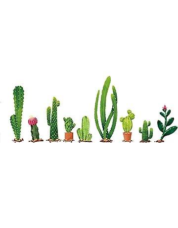 Vi.yo 1 pcs Cactus de Dibujos Animados Pegatinas de Pared de Navidad PVC Pegatinas