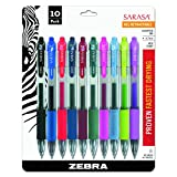 Zebra Sarasa Retractable Gel Ink Pens, Medium Point 0.7mm, Assorted Color Rapid Dry Ink, 10-Count
