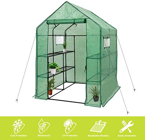 AMERLIFE Mini Walk-in Greenhouse Indoor Outdoor 3 Tier 8 Shelves with PE Cover and Roll-Up Zipper Door Extra Wind Ropes and Hooks for Indoor Outdoor Use, 77 x56 x56