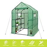 Deluxe Green House 56' W x 56' D x 77' H,Walk in Outdoor Plant Gardening Greenhouse 2 Tiers 8 Shelves - Window and Anchors Include!