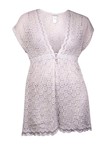 Dotti Womens Scalloped Crochet Dress Swim Cover-Up White L (Audrey Scalloped)
