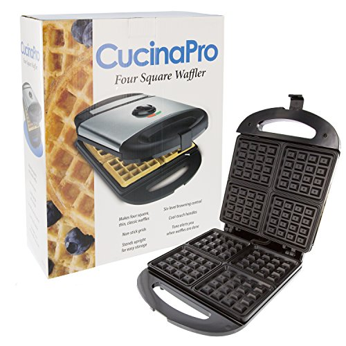 Four Square Waffle Maker- Non-stick Waffler Iron w Adjustable Browning Control- Beeps When Ready