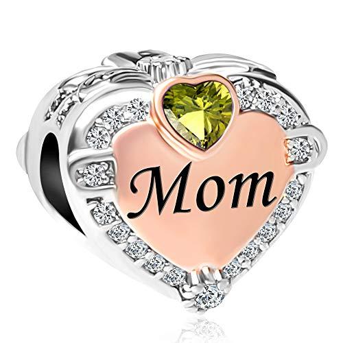CharmSStory Rose Gold Mom Heart Love Charm Bead for Bracelets ()