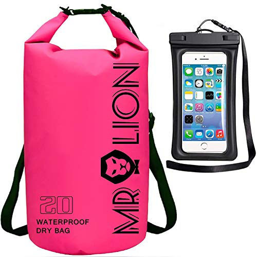 MR LION Waterproof Dry Bag - Roll Top Dry Compression Sack Keeps Gear Dry for Kayaking, Beach, Rafting, Boating, Hiking, Camping, Swimming, Floating and Fishing with Waterproof Phone Case (Pink, 30L)
