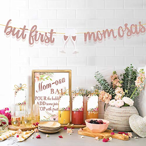 MORDUN MOMosa Bar Sign Banner Tags - Rose Gold Decorations for Baby Shower Mom Birthday Mother's Day New Mum Brunch -