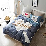 Set of 4 100% Cotton Duvet Cover Bedding Set Queen/Full For Adult Kids Teen Dorm Quilt Cover(200Cm×230Cm×1),Sheet(230Cm×250Cm×1),Pillowcases(48×74Cm×2) Wedding Thanksgiving Christmas Birthday Gift