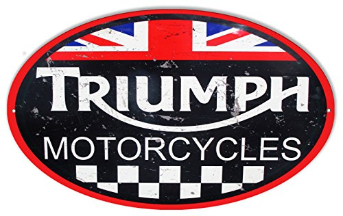 Large Triumph Motorcycles Reproduction Garage Shop Metal Sign 11x18 Oval