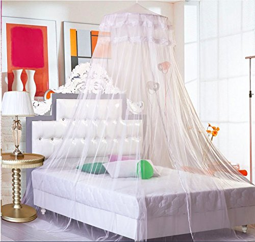 Sell4Style Mosquito Net for Bed Canopy Dome White Elegant Lace For Crib Twin Full Queen Bed by Sell4Style