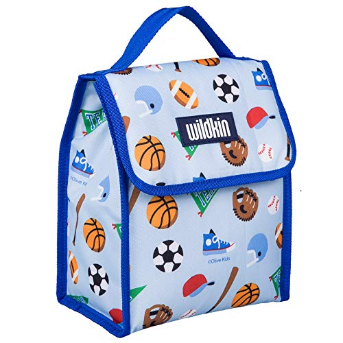 Lunch Bag, Olive Kids by Wildkin Lunch Bag, Insulated, Moisture Resistant, Easy to Clean and Folds Flat Making Storage That Much Easier, Ages 3+, Perfect for Kids or On-The-Go Parents – Game On
