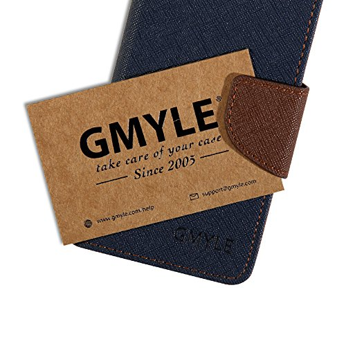 GMYLE Blue And Brown Two Colors PU Leather Interior Wallet