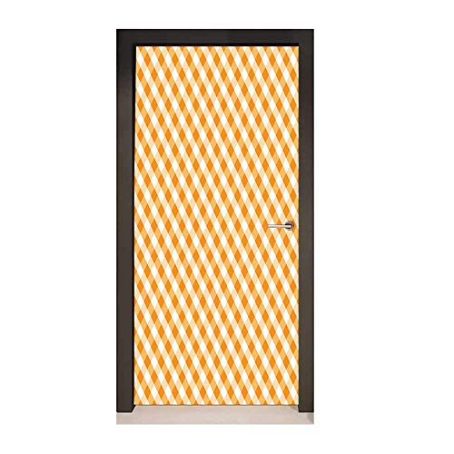 - Homesonne Checkered Door Sticker Diagonal Gingham Pattern in Orange and White Tones Old Fashioned Classical Tile for Office Decoration Orange White,W23xH70