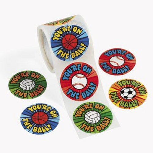 Oriental Soccer Ball (1 Roll ~ You're on the Ball / Sports Ball Stickers ~ 100 Round Stickers ~ Approx. 1.5