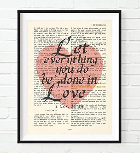 Vintage Bible Page Verse Scripture, Let Everything You Do Be Done in Love, 1 Corinthians 16:14 Art Print, Unframed, Christian Wall and Home Decor Poster, All Sizes