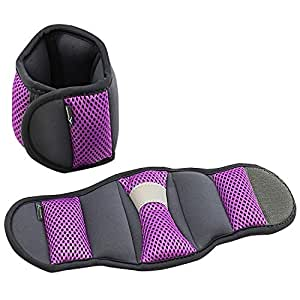 Empower Wrist Weights for Women, Exercise Resistance Training, Toning, Walking, Jogging, Running, 3 lb Set, Purple